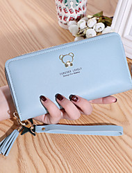 cheap -Women's Bags PU Leather Wallet Zipper Embossed Print Embellished&Embroidered 2021 Daily Date Wine Black Blushing Pink Fuchsia