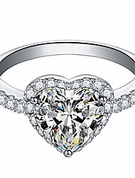 cheap -alloy rings for women,exquisite heart out ringwedding engagement rings jewelry accessories gift for women bridal (silver, 5)