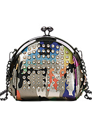 cheap -Women's Bags Polyester Evening Bag Crystals Chain Color Block Party Wedding 2021 Handbags Chain Bag Gold Silver