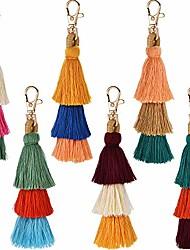 cheap -6 pieces hand made colorful bohemian tassel charm keychain handbags bag pendant key ring pom tassels key chain(color set 1)