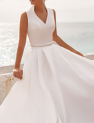 cheap -A-Line Wedding Dresses V Neck Sweep / Brush Train Satin Sleeveless Simple Beach with Crystal Brooch 2021