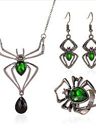 cheap -Women's Synthetic Emerald Jewelry Set Classic Spiders Stylish Earrings Jewelry Silver For Party Evening Gift Festival 1 set