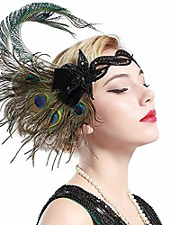 cheap -1920s flapper peacock feather headband 20s sequined showgirl headpiece (style-4)