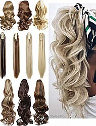 """cheap -long short claw ponytail hair extension one piece cute clip in on ponytail jaw/claw synthetic straight curly hairpieces 12"""" curly dark brown"""