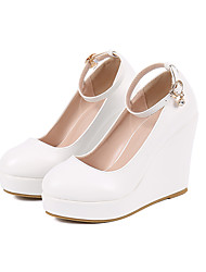 cheap -Women's Heels Wedge Heel Round Toe Sexy Minimalism Roman Shoes Wedding Party & Evening PU Buckle Solid Colored White
