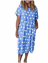 cheap -women's cotton hemp polka dot print dress sexy short sleeve o-neck beach holiday dress(yellow,x-large)