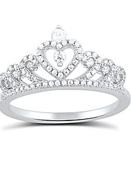 cheap -sterling silver cz heart crown ring - size 6