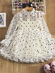 cheap -Kids Little Girls' Dress Polka Dot Tulle Dress Mesh Bow Print Blushing Pink Beige Knee-length Long Sleeve Basic Sweet Dresses Regular Fit