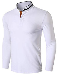 cheap -men's casual polo shirts long sleeve golf tennis t-shirts lapel shirts business button shirts white, 2xl