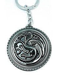 cheap -teri's boutique game of thrones house targaryen family fire and blood women men keychains (silver)
