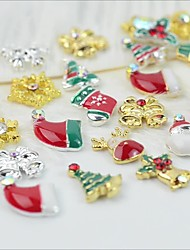 cheap -1 Set Christmas Manicure Decorations Cute Style Metal Nail Patch Christmas Hat Old Man Snowflake