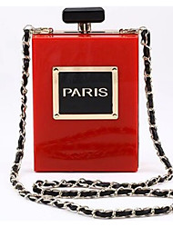 cheap -Women's Bags Acrylic Evening Bag Chain Solid Color Letter Going out Birthday 2021 Handbags Chain Bag White Black Blue Red
