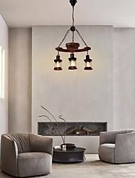 cheap -3-Light 55 cm Mini Style Pendant Light Wood / Bamboo Glass Industrial Painted Finishes Retro 110-120V 220-240V
