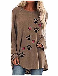 cheap -dog paw shirts for women love hearts pet footprints flowy long sleeve shirts crewneck tunic tops plus size.s-3xl khaki