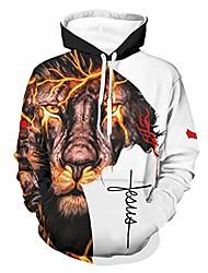 cheap -hooded pullover sweatshirt cool lion jesus faith sweatshirt with pocket long sleeve fashion white l