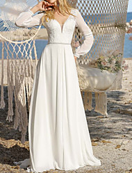 cheap -A-Line Wedding Dresses Jewel Neck Floor Length Chiffon Long Sleeve Simple Beach with 2021