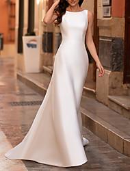 cheap -Sheath / Column Wedding Dresses Jewel Neck Sweep / Brush Train Satin Sleeveless Country Simple with 2021