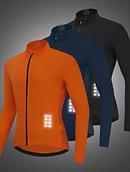 cheap -WOSAWE Men's Cycling Jersey Bike Jacket Tracksuit Windbreaker Windproof Breathable Reflective Strips Sports Solid Color Navy / Black / Orange Clothing Apparel Bike Wear / Long Sleeve / Athletic