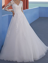 cheap -A-Line Wedding Dresses V Neck Floor Length Lace Tulle Long Sleeve Formal Beach Luxurious with Appliques 2021