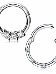 cheap -16g stainless steel nose rings hoop cz clicker seamless segment septum rings piercing jewelry 8mm
