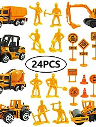 cheap -toy construction vehicles for boy 1:64 alloy engineering truck excavator forklift with 24 sets of road signs