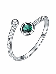 cheap -birthstone adjustable rings for women, birth month wrap open rings, rhodium plated with cubic zirconia (05. may)