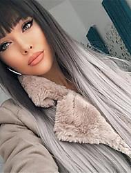 cheap -26 Inch Ladies Wig Temperament Long Straight Hair Black Gray Bangs Dyeing Gradient Long Hair High Temperature Silk Wig