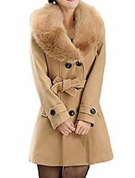 cheap -lapel wool coat plus size women trench jacket long sleeve winter overcoat
