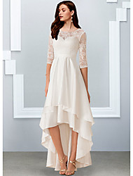 cheap -A-Line Wedding Dresses Jewel Neck Asymmetrical Chiffon Lace Half Sleeve Simple Beach with Cascading Ruffles 2021
