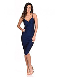 cheap -ax paris women's ruched midi dress(navy, size:10)