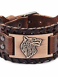 cheap -viking bracelet punk leather cuff bracelet gothic leather wristband bracelet with nordic amulet scandinavian talisman celtic pagan jewelry