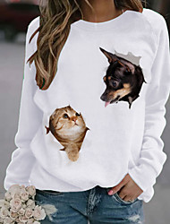 cheap -Women's T shirt Cat Dog Animal Long Sleeve Print Round Neck Tops Basic Top White