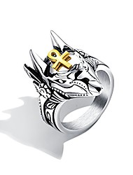 cheap -mens stainless steel anubis ring egyptian gold ankh cross ring biker band size 12