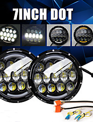 cheap -2 Pcs 105W Head Light 7 Inch Round Headlights Angel Eyes Turn Signal Light for Lada Niva Off Road Hummer Land Rover Car Accessories Black