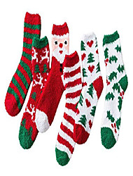 cheap -azure cuddly socks ladies winter socks warm fluffy christmas socks fuzzy sock 6 pairs christmas series