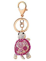 cheap -crystal diamond keyring cute turtle keychain bag decoration girl women gift
