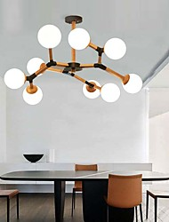 cheap -3 6 9 Heads LED Ceiling Light Frosted Ball Design Wood Chandelier Nordic Rubber Dining Room Lamp Study Bedroom E27 E26 Base Lamp Holder AC100-240V