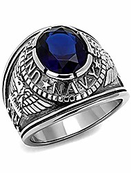 cheap -us navy ring - (silver color w/blue stone) usn military rings jewelry - officers military gear or u.s. navy seals uniform veteran ring with flag decal emblem design