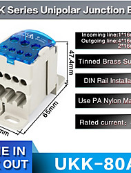 cheap -1pcs Ukk 80a One In Multiple-out Distribution Box Din Rail Terminal Blocks Universal Wire Connector Junction Box Waterproof