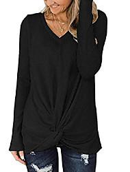 cheap -womens plus size womens black sweater,loose waffle knit twist knot tunic soft lightweight sweater (black, xx-large)