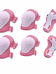 cheap -children protective gear set, 6pcs adjustable wrist guards protective gear kit for roller skating skateboard scooter cycling knee pads (pink)