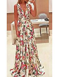 cheap -Women's Sheath Dress Maxi long Dress Blushing Pink Sleeveless Print Patchwork Print Fall Spring Boat Neck Elegant Vintage 2021 L XL XXL 3XL 4XL 5XL / Plus Size