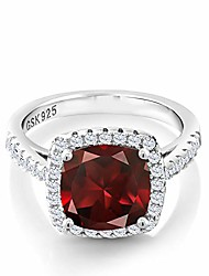 cheap -925 sterling silver red garnet and white created sapphire women ring (3.10 ct cushion cut, gemstone birthstone, available in size 5,6,7,8,9)