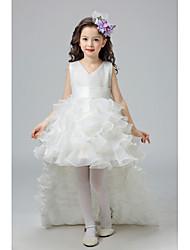 cheap -Kids Little Girls' Dress Floral Bow White Purple Red Knee-length Sleeveless Cute Sweet Dresses Children's Day Regular Fit