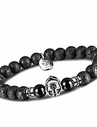 cheap -agate mens bead bracelets, grim reaper skull bracelets 8mm natural onyx gemstone beads charm healing elastic bracelet (jf-reaper-lava)