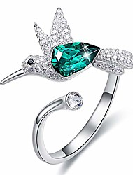 cheap -hummingbird ring s925 sterling silver rings for women embellished with austrian crystals adjustable rings mother's day birthday gifts for wife girlfriend women (hummingbird ring c)