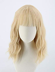 cheap -short blonde wig for women ombre bob wig with fringe fashion daily wear synthetic wig(blonde)