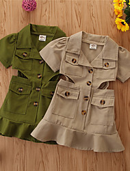 cheap -Toddler Little Girls' Dress Solid Colored Khaki Green Knee-length Short Sleeve Basic Dresses Children's Day