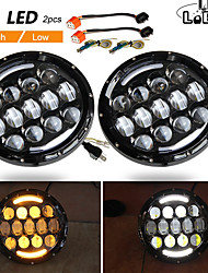 cheap -2 Pcs 105W Running Lights 7 Inch Headlights Angel Eyes H4 Hi Lo 9-30V for 4X4 Lada Niva Uaz Offroad 12V 24V