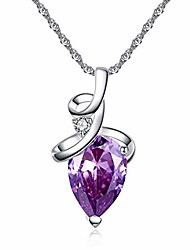 cheap -elegant heart shaped amethyst pendant necklace,  luxury fashion18k rose gold love heart natural purple crystal jewelry - great birthday anniversary mothers day wedding gift (silver)